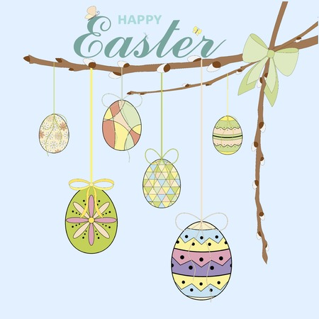 Colorful Happy Easter greeting card with Easter eggs, willow branch, bow and text. Easter background. Hand drawn vector illustration Stock Illustratie