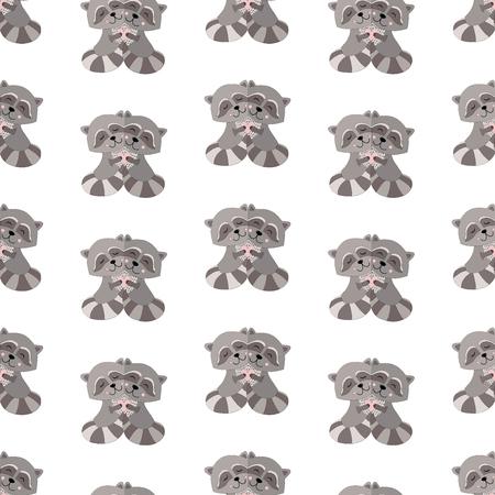 Raccoon Seamless Vector Pattern.Vector background