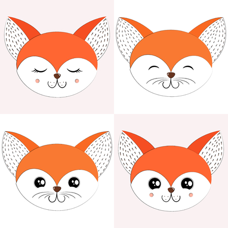 Fox Set Vector Illustration