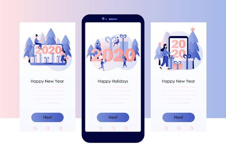New Year 2020. Screen template for mobile smart phone. Modern flat cartoon style. Vector illustration