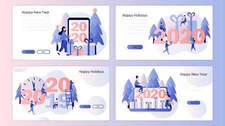 New Year 2020. Small people are preparing for the new year. Screen template for mobile smart phone, landing page, template, ui, web, mobile app, poster, banner, flyer. Modern flat cartoon style.Vector