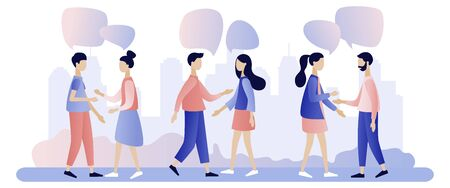 Group of people talking . Businessmen discuss social network, news, social networks, chat, dialogue speech bubbles.Flat style. Vector illustration