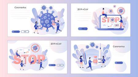 Coronavirus concept. Stop novel coronavirus 2019-nCoV . Screen template for mobile smart phone, landing page, template, ui, web, mobile app, poster, banner, flyer. Modern flat cartoon style. Ilustração