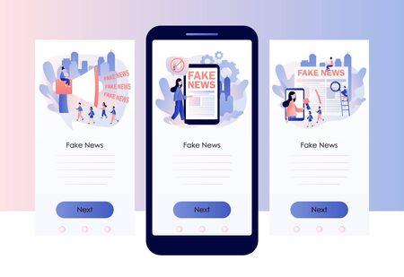 Fake news metaphors. Screen template for mobile smart phone. Modern flat cartoon style. Vector illustration Vettoriali