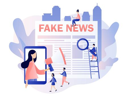 Fake news. Tiny people read newspaper and watching news in mobile app. Mass media, hot online information, propaganda newscast. Modern flat cartoon style. Vector illustration