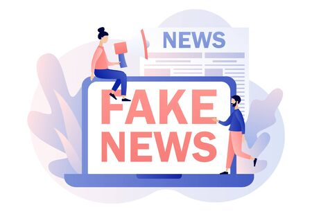Fake news metaphors. Tiny people read online newspaper. Mass media, hot online information, propaganda newscast. Modern flat cartoon style. Vector illustration