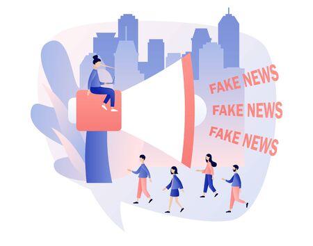 Fake news metaphors. Tiny people and big megaphone with Fake News text. Mass media, hot online information, propaganda newscast. Modern flat cartoon style. Vector illustration