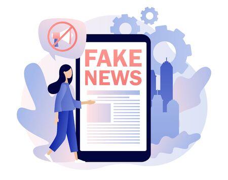 Fake news metaphors. Tiny girl read news with mobile app. Mass media, hot online information, propaganda newscast. Modern flat cartoon style. Vector illustration Çizim