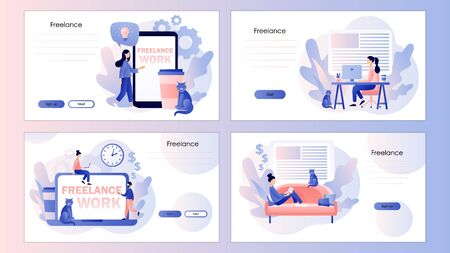 Freelance work concept. Tiny people work in home office. Screen template for mobile smart phone, landing page, template, ui, web, mobile app, poster, banner, flyer. Modern flat cartoon style.