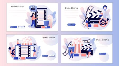 Online cinema consept. Mobile movie theater. Cinematography. Screen template for mobile smart phone, landing page, template,ui,web, mobile app, poster, banner, flyer. Modern flat cartoon style. Vector illustration