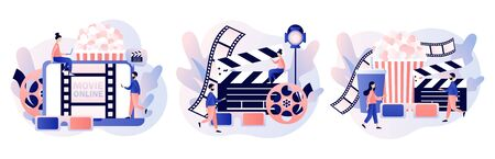 Online cinema consept. Mobile movie theater. Cinematography. Tiny people watching movie with popcorn,3d glasses and video attributes. Modern flat cartoon style. Vector illustration Vektorové ilustrace