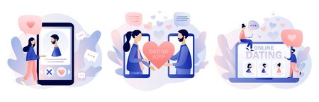 Online dating. Tiny people chatting in the dating app. Virtual relationship. Acquaintance in social network. Modern flat cartoon style. Vector illustration