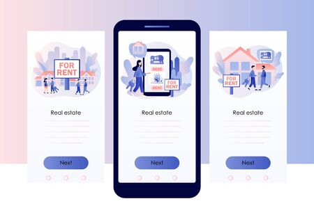 House for rent. Real estate business concept with houses. Real estate agent with people renting house. Screen template for mobile smart phone. Modern flat cartoon style. Vector