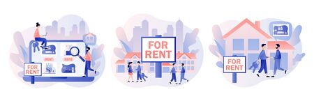 House for rent online services. Real estate business concept with houses. Real estate agent with people renting house. Modern flat cartoon style. Vector