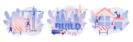 Build and Home Repair concept. Modern building process. Tiny men builders and repairers working with professional tools. Modern flat cartoon style. Vector illustration