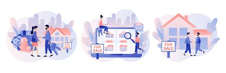 House for sale. Real estate business concept with houses. Tiny real estate agent or broker shaking hands with people buying house. Modern flat cartoon style. Vector illustration Illusztráció