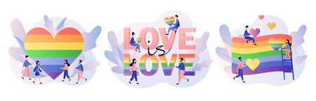 LGBT movement concept. Love is love. Tiny people with Rainbow coloured flag and hearts. Love parade. Modern flat cartoon style. Vector illustration