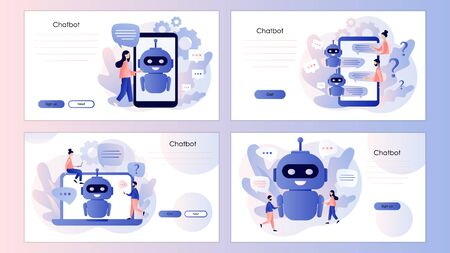 Chatbot concept. AI robot assistant, customer support. Screen template for mobile smart phone, landing page, template, ui, web, mobile app, poster, banner, flyer. Modern flat cartoon style. Vector illustration