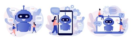 Chatbot concept. AI robot assistant, online customer support. Tiny people chatting with chatbot application. Modern flat cartoon style. Vector illustration