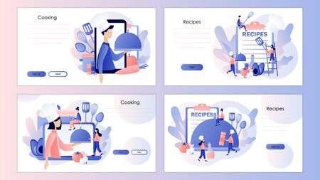Food blogging. Recipes online. Tiny People Cook in Chef Cap. Screen template for mobile smart phone, landing page, template, ui, web, mobile app, poster, banner. Modern flat cartoon style. Vector illustration