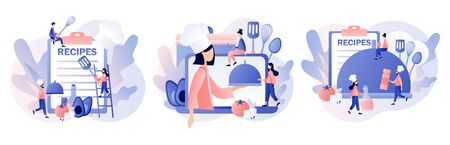 Food blogging. Recipes online. Professional chef holding dish. Tiny People Cook in Chef Cap. Modern flat cartoon style. Vector illustration