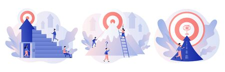 Efforts to achieve target. Perseverance, Challenge, Career and personal growth. Tiny people businessmen running towards the goal. Modern flat cartoon style. Vector illustration