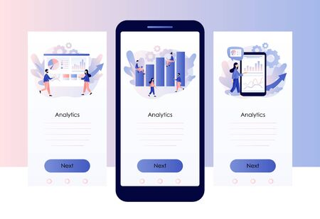 Data analytics consept. Business analysis. Tiny people are studying the infographic. Screen template for mobile smart phone. Modern flat cartoon style. Vector