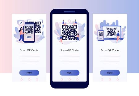 QR Code scanning concept. Tiny people scan code using smartphone. Screen template for mobile smart phone. Modern flat cartoon style. Vector Vectores