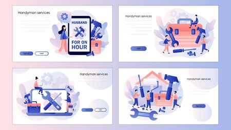 Handyman services. Husband for an hour. Repairman online. Screen template for mobile smart phone, landing page, template, ui, web, mobile app, poster, banner, flyer. Modern flat cartoon style. Vector illustration