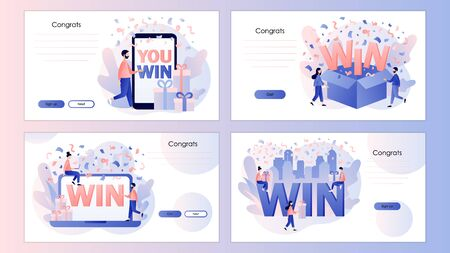 WIN text. You Win Concept. Congrats winner. Screen template for mobile smart phone, landing page, template, ui, web, mobile app, poster, banner, flyer. Modern flat cartoon style. Vector illustration
