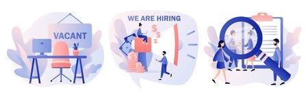 We are Hiring. Recruitment and headhunting agency. Jobs concept. Modern flat cartoon style. Vector illustration