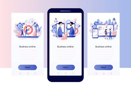 Online business concept. Tiny people conclusion of the transaction. Global cooperation on the Internet. Screen template for mobile smart phone. Modern flat cartoon style. Vector