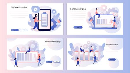 Battery charge. Tiny Users and battery performance. Screen template for mobile smart phone, landing page, template, ui, web, mobile app, poster, banner, flyer. Modern flat cartoon style. Vector illustration