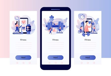 Fitness blog and Workout app concept. Tiny people are sport training. Screen template for mobile smart phone. Modern flat cartoon style. Vector illustration Vectores