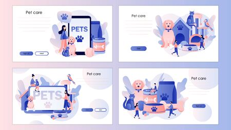 Pets care. Pet shop. Tiny people and Pets Concept. Screen template for mobile smart phone, landing page, template, ui, web, mobile app, poster, banner, flyer. Modern flat cartoon style. Vector illustration