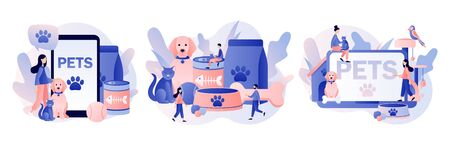 Pets care. Pet shop. Tiny people and Pets Concept. Modern flat cartoon style. Vector illustration