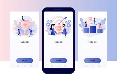 Success concept. Business Team Success, Achievement Concept. Tiny People with Prize, Cup. Screen template for mobile smart phone. Modern flat cartoon style. Vector illustration