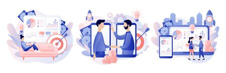 Online business concept. Tiny people conclusion of the transaction. Global cooperation on the Internet. Modern flat cartoon style. Vector illustration