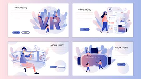 Virtual reality concept. Tiny people using virtual reality glasses. Screen template for mobile smart phone, landing page, template,ui,web, mobile app, poster, banner, flyer. Vector