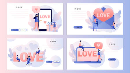 Tiny people with heart, love letter and big LOVE inscription. Screen template for mobile smart phone, landing page, template, ui, web, mobile app, poster, banner, flyer. Modern flat cartoon style. Vector