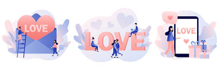 In love. Tiny people with heart, love letter and big LOVE inscription. Valentine day consept. Modern flat cartoon style. Vector illustration on white background