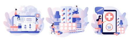 Online pharmacy store concept. Buy medicaments and drugs online. Tiny people Pharmacists in Drugstore near Medicine Pills and Bottles. Modern flat cartoon style.Vector illustration on white background Ilustracja