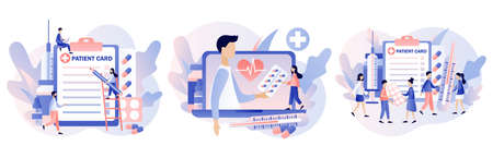 Online doctor concept. Patient consultation to the doctor. Online Medical Service. Tiny people doctors with patient card. Modern flat cartoon style. Vector illustration on white background Ilustracja