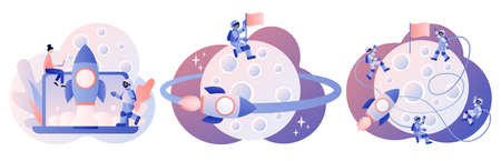 Lunar mission space exploration. Tiny astronauts in space. Spaceship travel to moon. Rocket flying around Moon orbit. Launching a rocket for a Moon. Modern flat cartoon style. Vector illustration