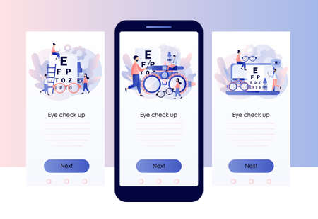 Ophthalmology concept. Eye check up. Ophthalmologist checks patient sight. Screen template for mobile smart phone. Modern flat cartoon style. Vector