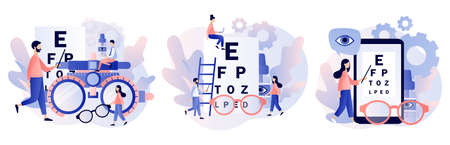 Ophthalmology concept. Eye check up. Ophthalmologist checks patient sight. Modern flat cartoon style. Vector