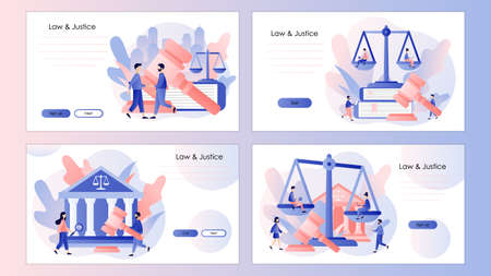 Law and Justice Concept. Justice scales and judge gavel. Screen template for mobile smart phone, landing page, template, ui, web, mobile app, poster, banner, flyer. Modern flat cartoon style. Vector illustration