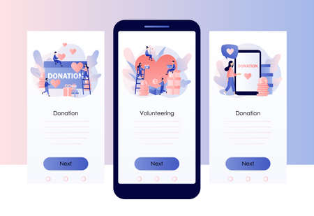 Donation and volunteers work concept. Screen template for mobile smart phone. Modern flat cartoon style. Vector