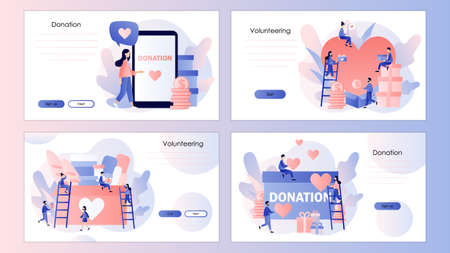 Donation and volunteers work concept. Screen template for mobile smart phone, landing page, template, ui, web, mobile app, poster, banner, flyer. Modern flat cartoon style. Vector Illustration