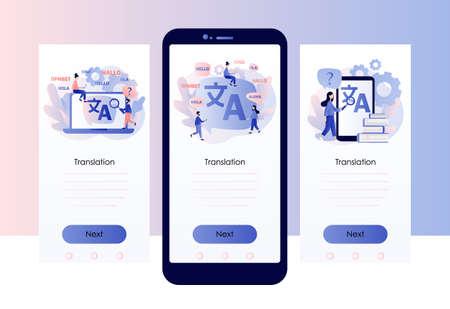 Translation concept. Online translator. Screen template for mobile smart phone. Modern flat cartoon style. Vector illustration
